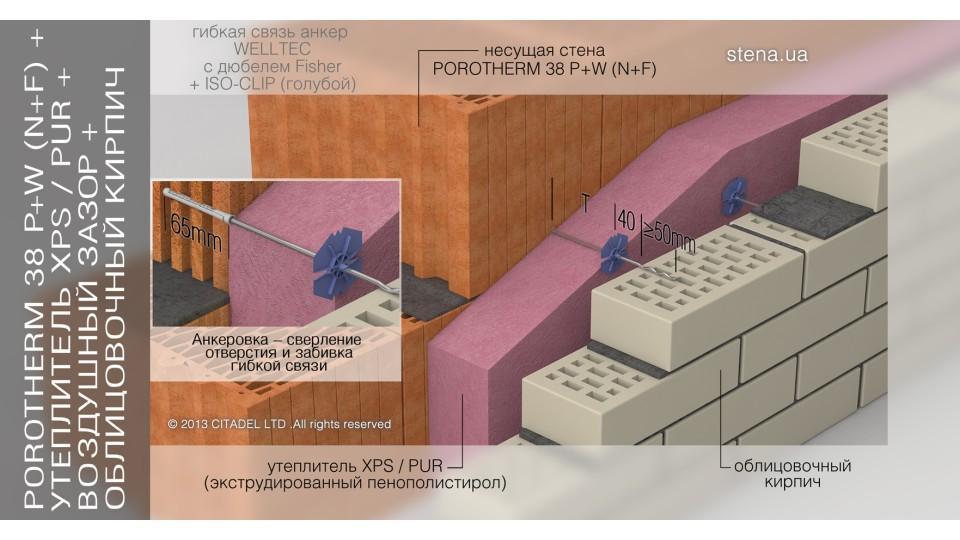 """Гнучкий зв'язок-анкер BEVER 4х300 WELLTEC (в """"ТІЛО"""" ч/з дюбель) без дюбеля"""