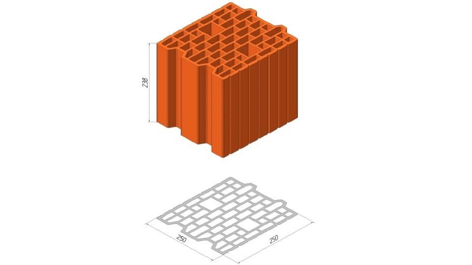 Блок Керамейя ТеплоКерам поризований 7,62 НФ Блок 25 Еко