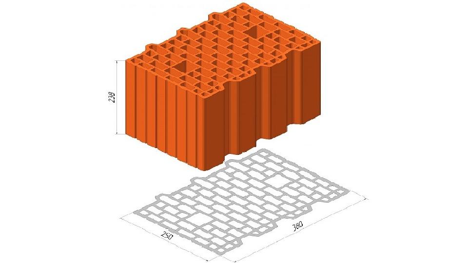 Блок Керамейя ТеплоКерам поризований 11,6 НФ Блок 38й