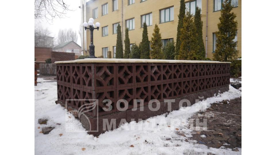 Заборний блок Золотий Мандарин Гармонія  300х300х90 мм бордо