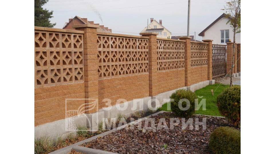 Заборний блок декоративний Золотий Мандарин 300х100х100 мм персиковий