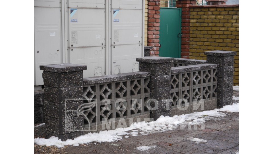 Заборний блок Золотий Мандарин Гармонія 300х300х90 мм сірий