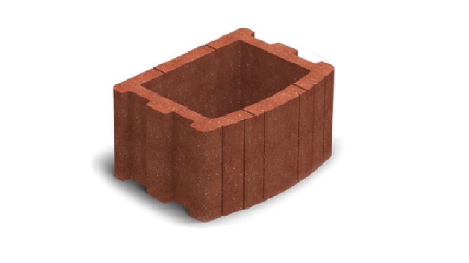 Квітник вібропресований Золотой Мандарин Квадратний 500х400х250 мм червоний