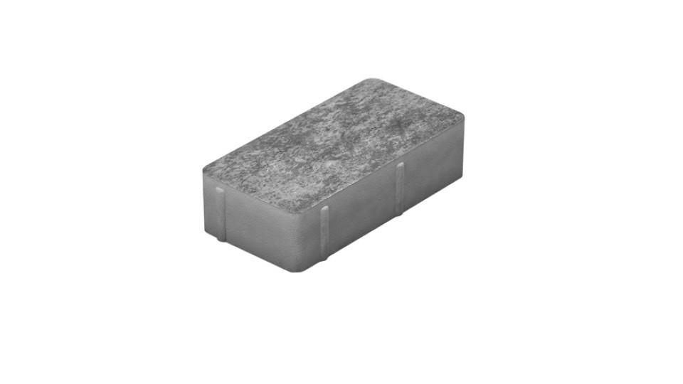 Тротуарна плитка Золотой Мандарин Цегла 200х100 без фаски 6 см, сірий
