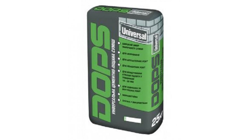 Універсальна цементно-піщана суміш ПоліПласт DOPS UNIVERSAL 100, 25кг