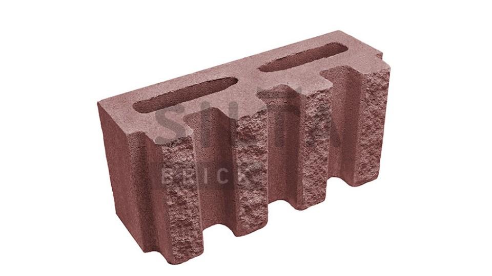 Заборний блок декоративний канелюрний бордо 390х190х140 мм