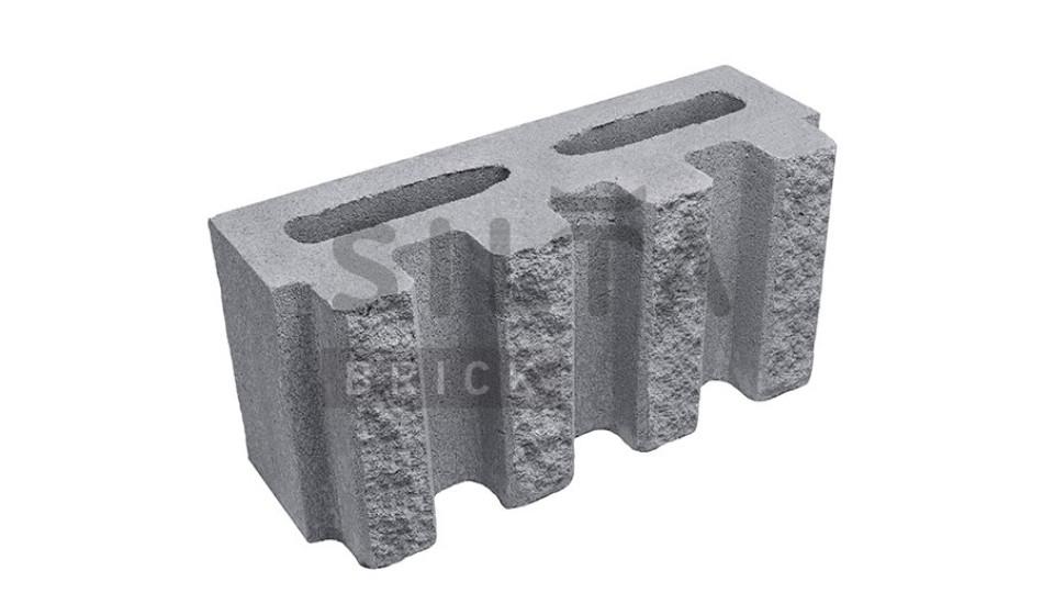 Заборний блок декоративний канелюрний сірий 390х190х140 мм
