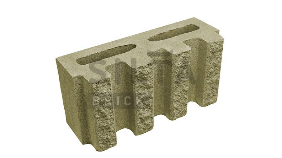 Заборний блок декоративний канелюрний темно-оливковий 390х190х140 мм