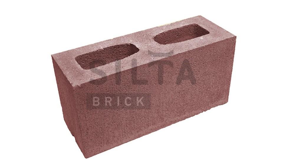 Заборний блок гладкий бордо 390х190х140 мм
