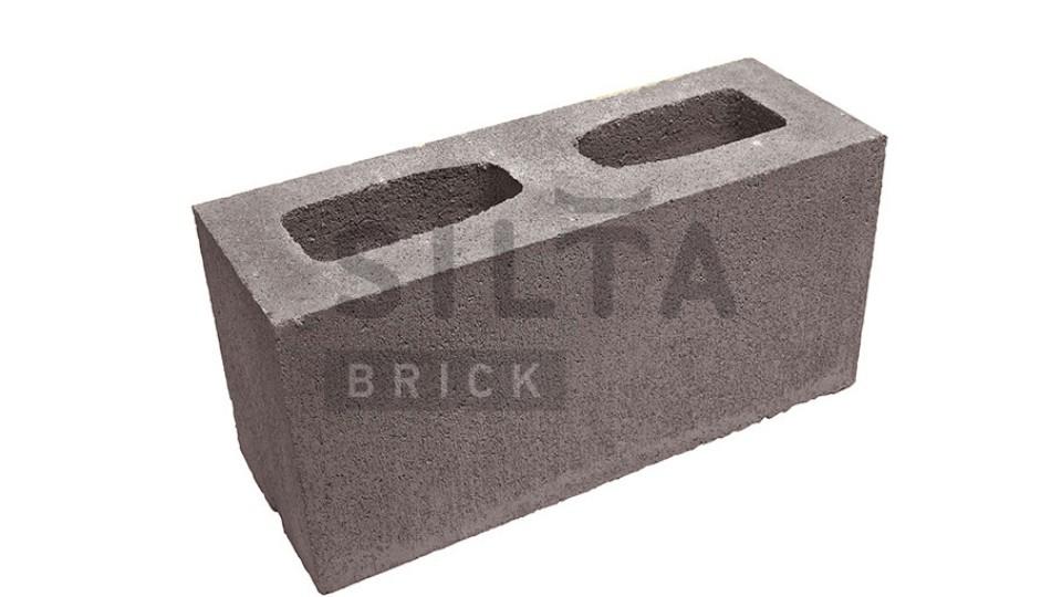 Заборний блок гладкий коричневий 390х190х140 мм