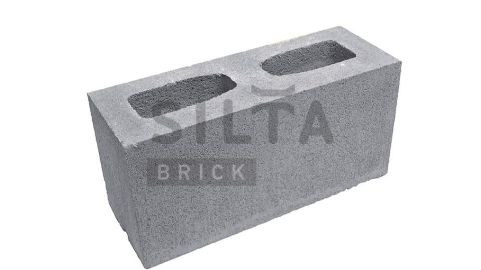 Заборний блок гладкий сірий 390х190х140 мм