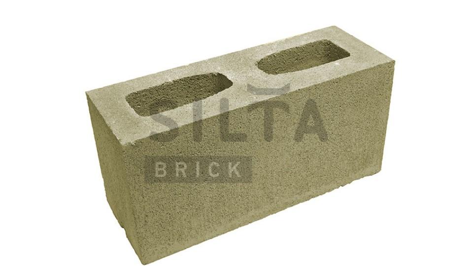 Заборний блок гладкий темно-оливковий 390х190х140 мм