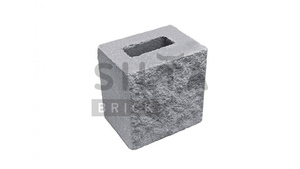 Заборний напівблок декоративний сірий 190х190х140 мм