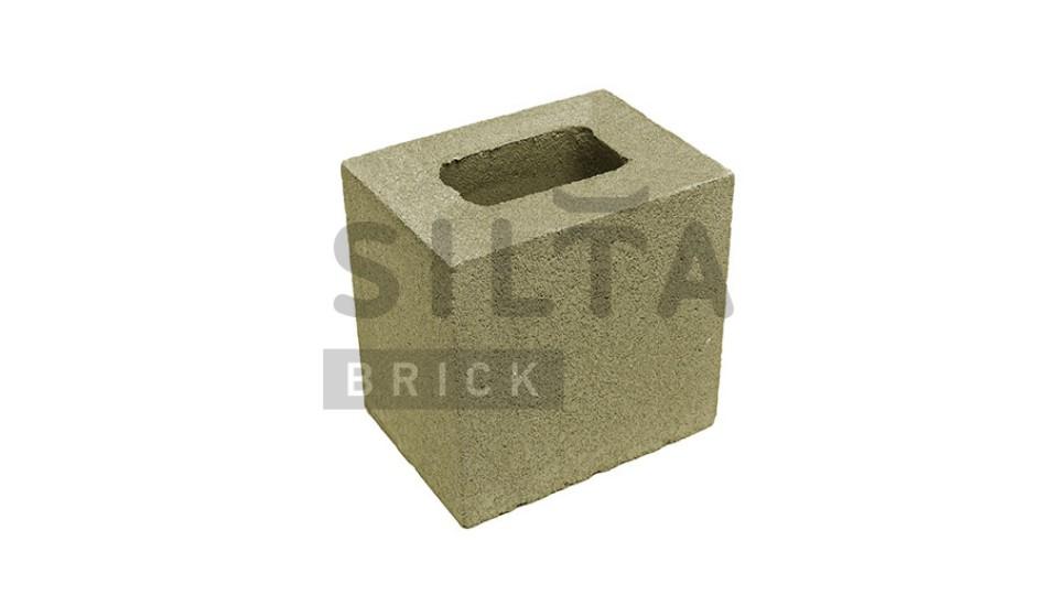 Заборний напівблок гладкий темно-оливковий 190х190х140 мм