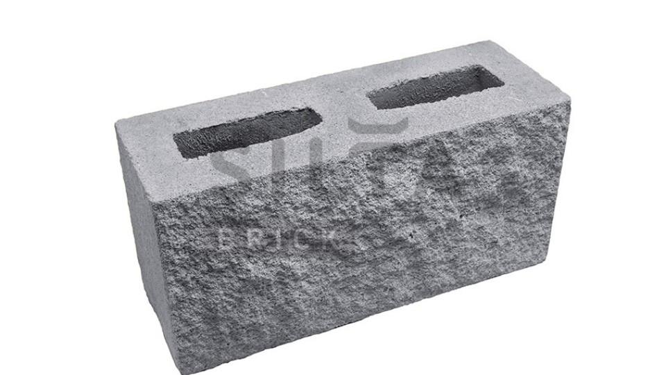 Заборний блок декоративний сірий 390х190х140 мм
