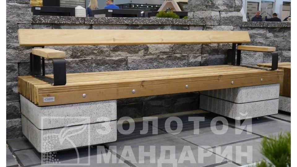 Лавочка Модерн Золотой Мандарин 560х820х2300мм з двома підлокітниками, вайт