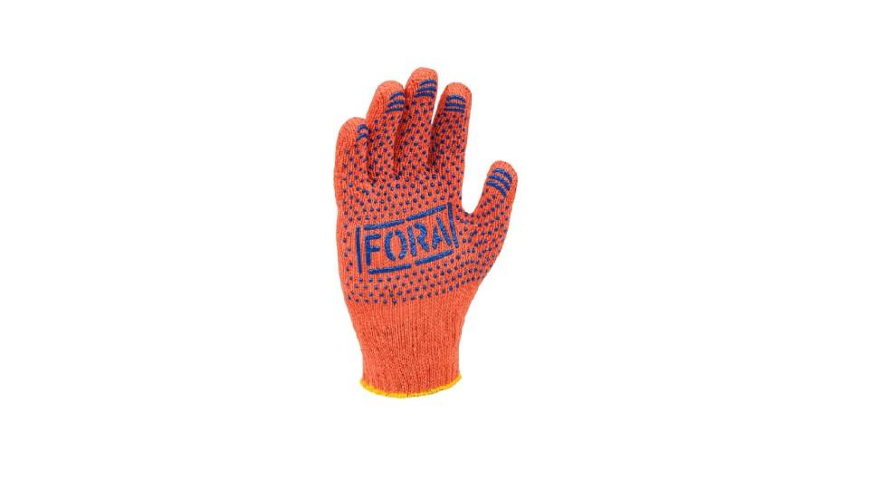 Рукавички Фора трикотажні помаранчеві ДОЛОНІ 15300 (упаковка - 5 пар)